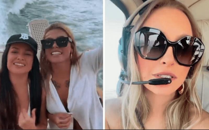 """Poderosas! Ex-BBBs Carla Diaz, Juliette Freire e Pocah fazem passeios de helicóptero e barco: """"Irmãs"""""""
